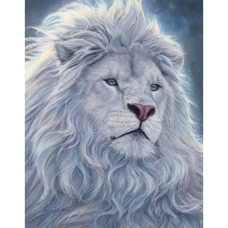 "Praça cheia / Rodada Broca 5D DIY Pintura Diamante ""White Lion Animal"" 3D Bordado Ponto Cruz 5D Rhinestone Home Decor Presente"