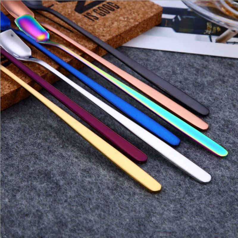 mixing spoons set Stainless Steel rainbow Long Handled ...