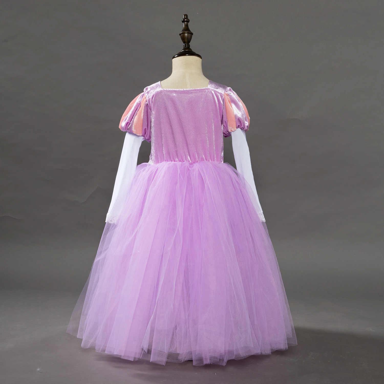 f82fe5db9 ... Niños Niñas Princesa Sofía Rapunzel vestidos de novia vestido largo  vestido de fiesta ropa de los ...