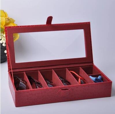 7-grid structure en bois en cuir lunettes/lunettes de soleil de stockage maquillage boîte boîte à bijoux de stockage organisateur YJ008