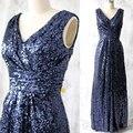 Baratos de lentejuelas vestidos de dama de azul real v cuello largo vestido de dama de honor vestido madrina de casamento vestido de fiesta bnd29