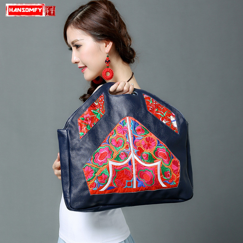 HANSOMFY new ethnic style original handcuffs Women handbag Genuine leather female handbag large capacity embroidery file packageHANSOMFY new ethnic style original handcuffs Women handbag Genuine leather female handbag large capacity embroidery file package