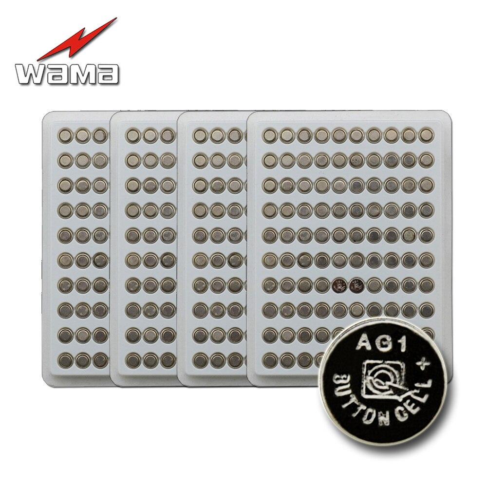 Wama 400 baterias de lítio ag1 100% v, baterias com 4 pacotes, bateria de relógio tipo moeda para controle remoto de carro, 1.55 peças controle lr621 sr621 164 lr60