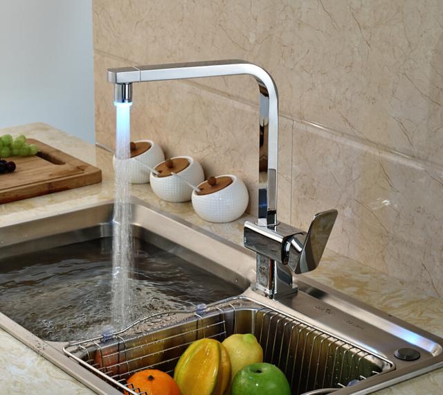 LED Spout Swivel Spout Kitchen Faucet Vessel Sink Mixer Tap Chrome Finish Solid Brass
