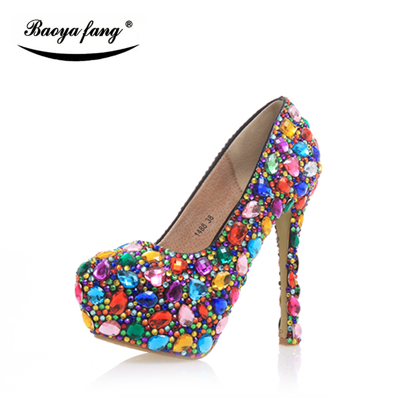 Multicolor crystal Women Wedding shoes high heels platform shoes 14cm high shoes woman party dress Pumps vintage 55 куртка
