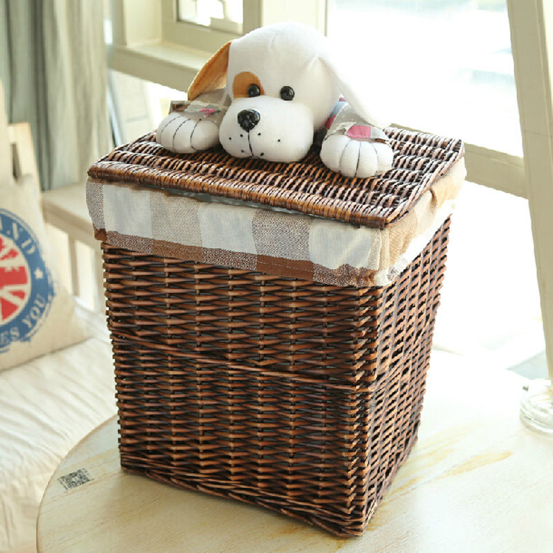 Large Small Dark Brown Dirty Clothes Wicker Laundry Basket With Cute Puppy Lid White Decorative Storage Neatening Baskets In From