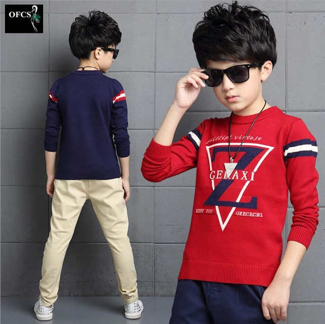 2016 Hot! New Fashion Brand Boy Sweater Coat Kids Autumn Children's Clothing  For 5-16Y,Children Z Letter Printing Sweater Knit