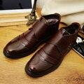 Homens Inverno Couro de Bezerro Rendas até Meados de Bezerro do vintage Martin Ankle Boots Botas De Pele De Neve Sapatos Chukka