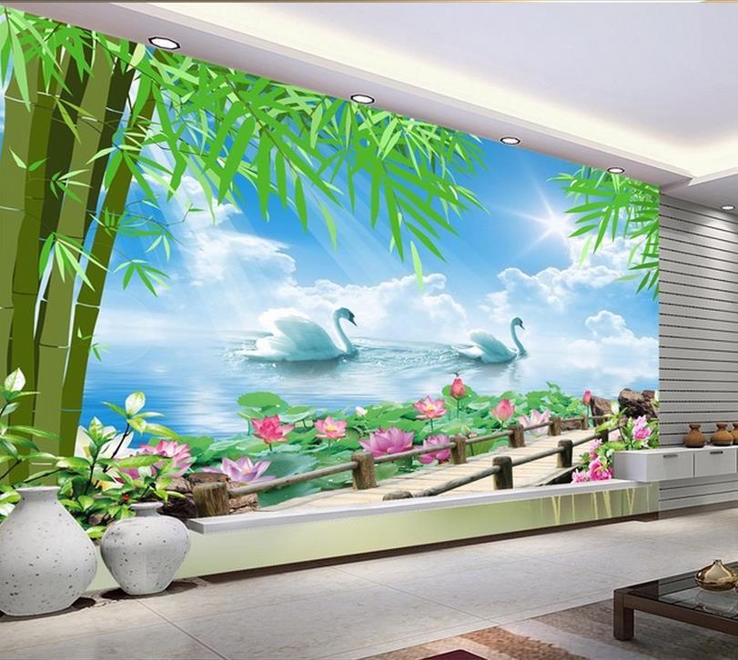 3d wall murals wallpaper photo swan lake scenery wall for Mural 3d wallpaper