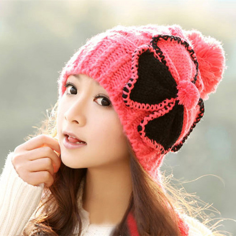 Ladies Winter Warm Hat Bow Thickened Knitted Woolen Beanies Fashion Cute Novelty Young Womens Winter Hats Protect Ear Ski Cap