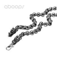 Classic 925 Sterling Silver Link Chain Necklace with Dragon Heads for Men Boys 8 mm 50 65 cm Free Shipping