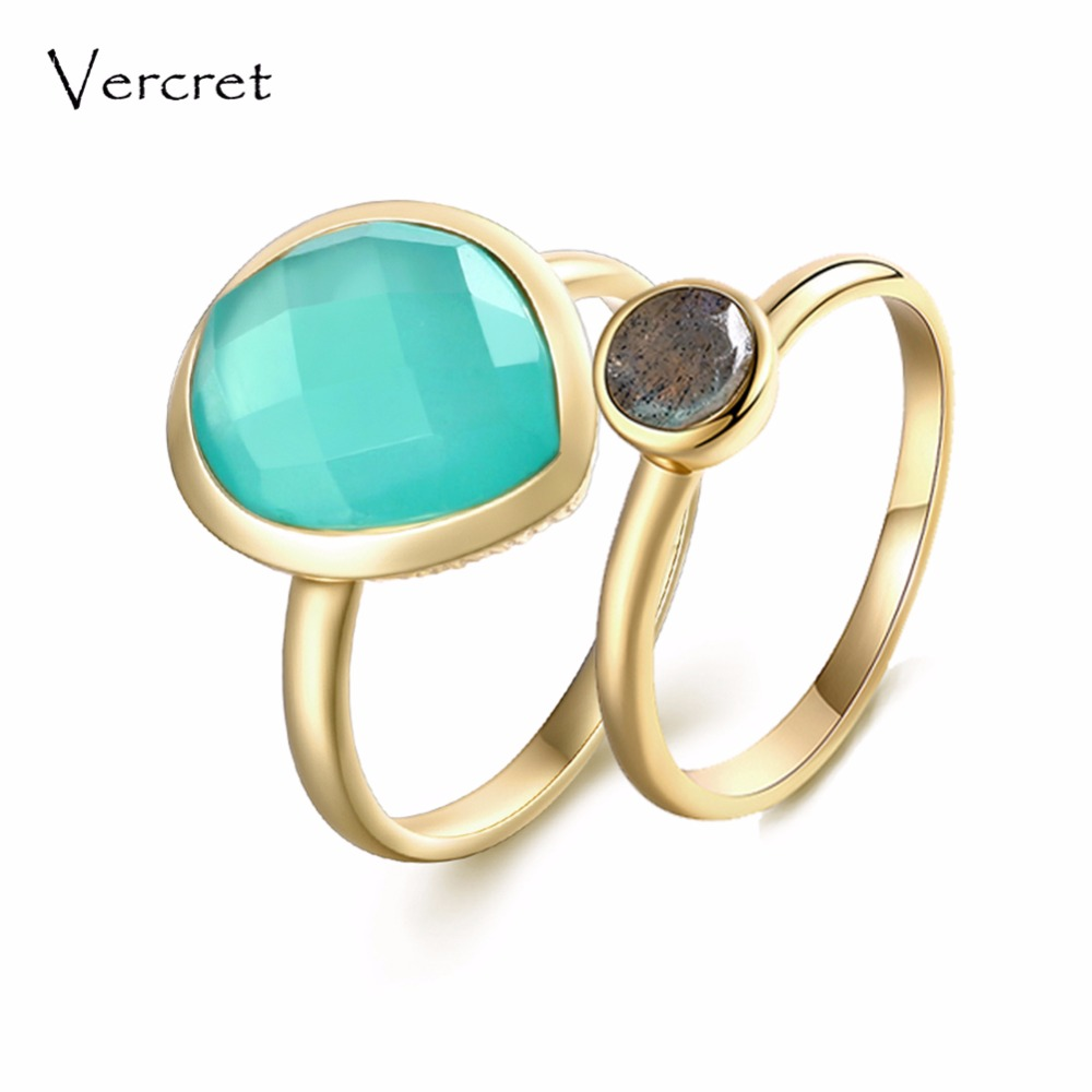 Vercret real 925 sterling silver natural stone rings for women 18k gold labradorite ring set with engagement wedding jewelry
