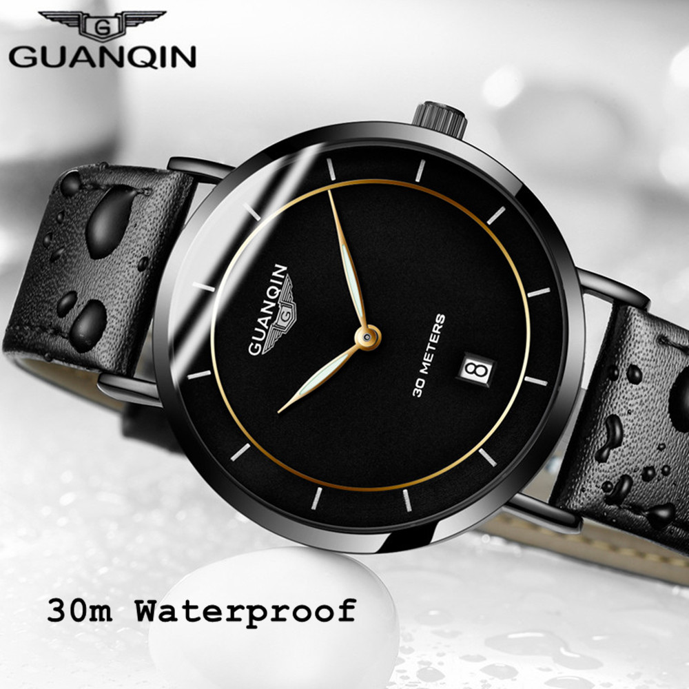 Men Watches GUANQIN Watch Men Brand Luxury Ultra Thin Quartz Watch Leather Waterproof Clock Mens Wristwatches