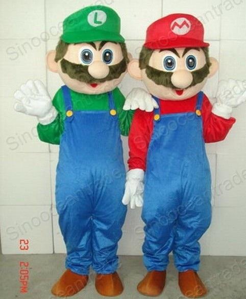 SUPER Mario AND Luigi cartoon Mascot Costume Fancy Dress Animal mascot costume free shipping