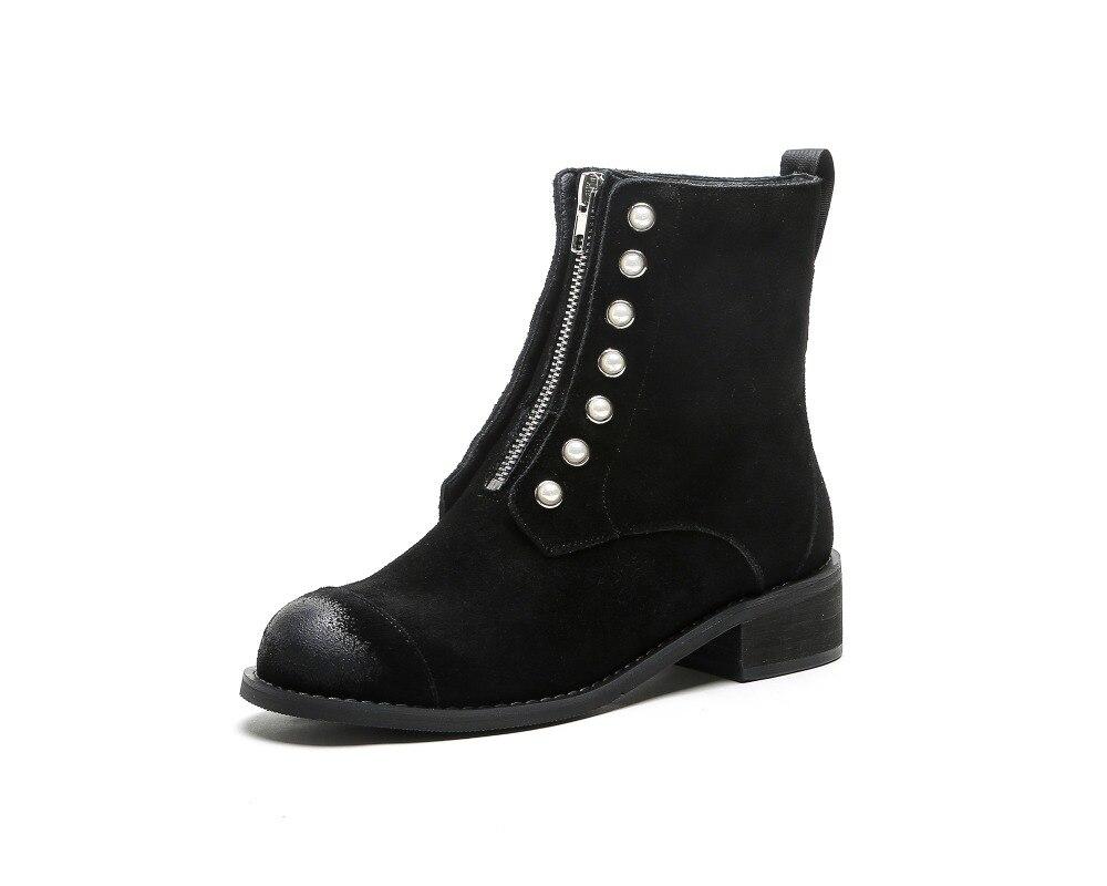 Cuir Arden Plat 2018 Chelsea Mode Furtado Suede Hiver 33 Automne Leather Cheville Bottes Black Matin Taille En Rivets Véritable Noir Daim black r4vqrZW