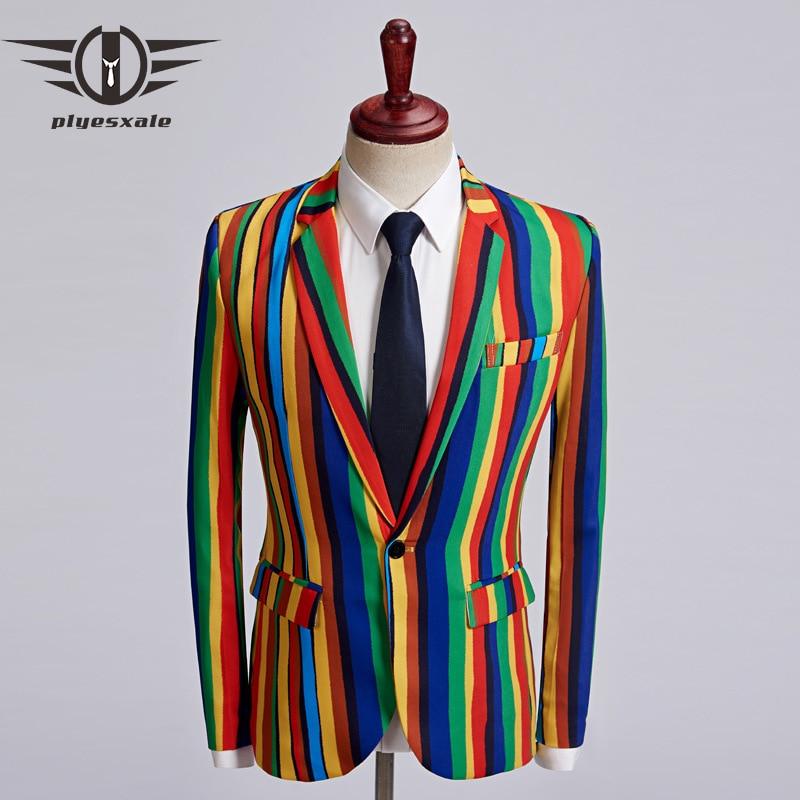 Plyesxale طباعة السترة الرجال 2018 الخريف سليم صالح رجل الملونة مخطط السترة سترة عالية الجودة الهيب هوب يتوهم سترة رجل q472-في السترات من ملابس الرجال على  مجموعة 1