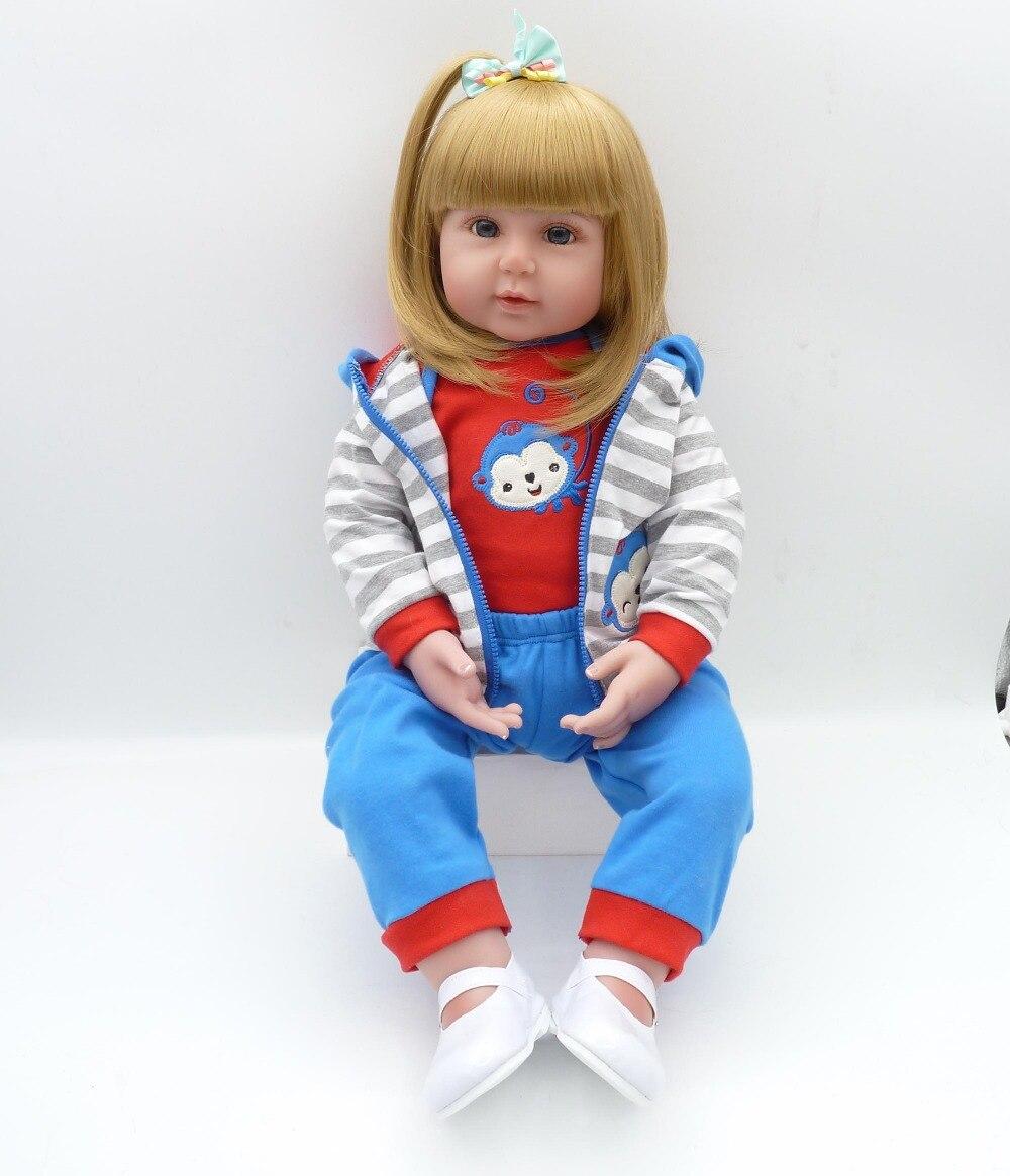 Очаровательная мягкая тела реалистичные Poseable принцесса Baby Doll с Gloden длинные волосы натурально взвешенный большой малышей Кукла голубые гла...