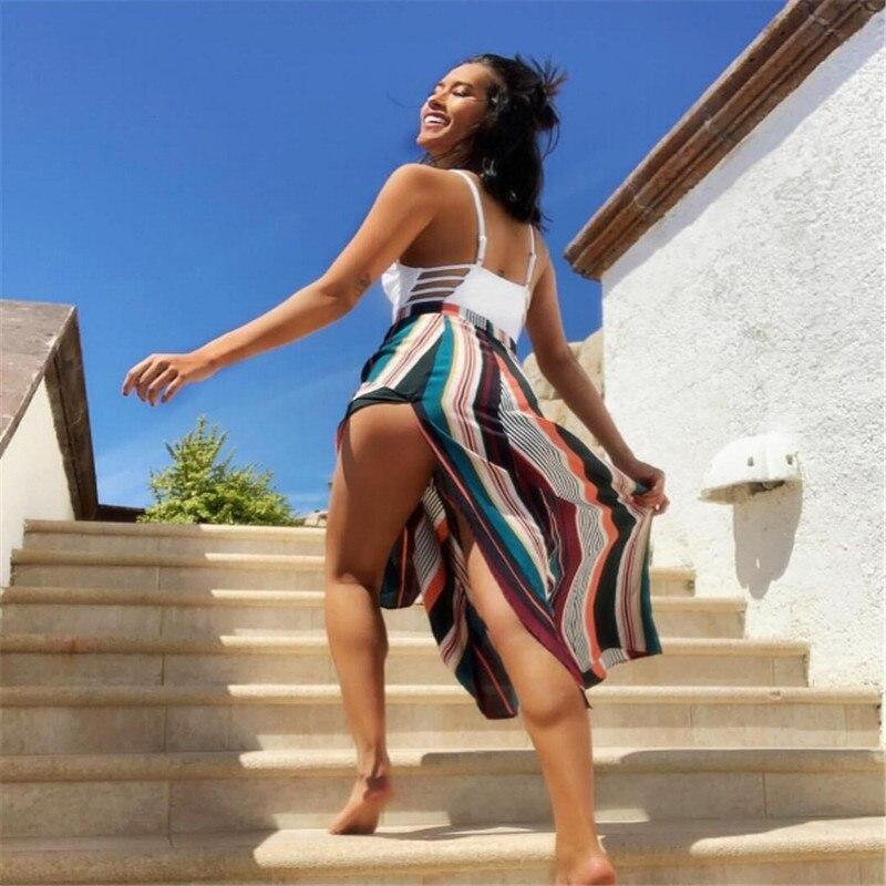 Fashion Women Ladies Elastic Waist Striped Split Skirt Loose Casual Sexy Stripe High Waist Summer Sun Skirts