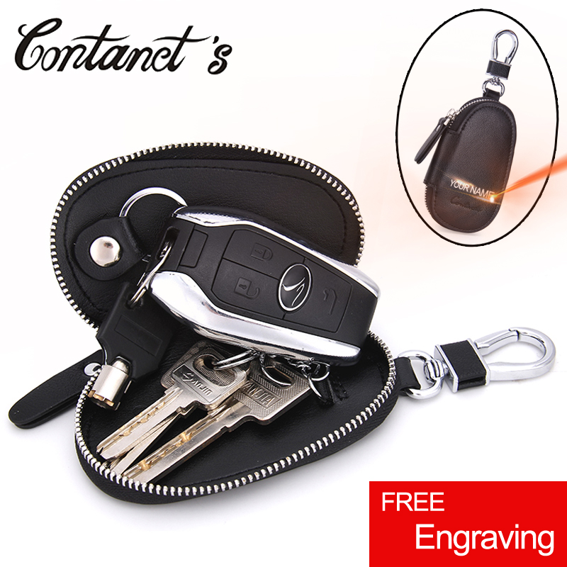 Genuine Leather Car Key Wallet Men's Key Holder Organizer Women Housekeeper Keychain Case Bag Zipper Key Ring Purse Free Engrave
