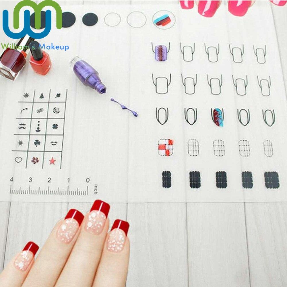 Práctica de Nail Art Plegable Silicona Para Colorear Almohadilla Polaca Pegatina de Estampado Guía de Impresión Mesa de Transferencia Paleta Herramientas