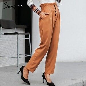 Image 5 - Simplee Verstoorde Elastische Hoge Taille Knop Vrouwen Broek Casual Solid Streetwear Vrouwelijke Broek Office Dames Blazer Botttom Broek