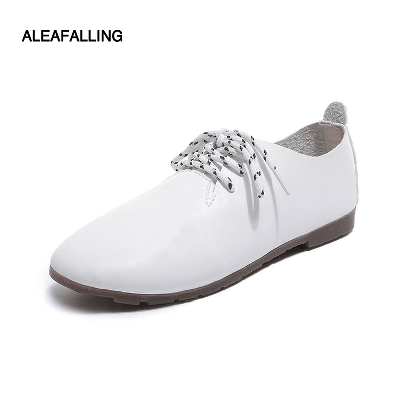 Aleafalling Autumn women sneakers girl's oxford shoes flats shoes women leather cute lace up boat shoes round toe flats FL27 asumer white spring autumn women shoes round toe ladies genuine leather flats shoes casual sneakers single shoes