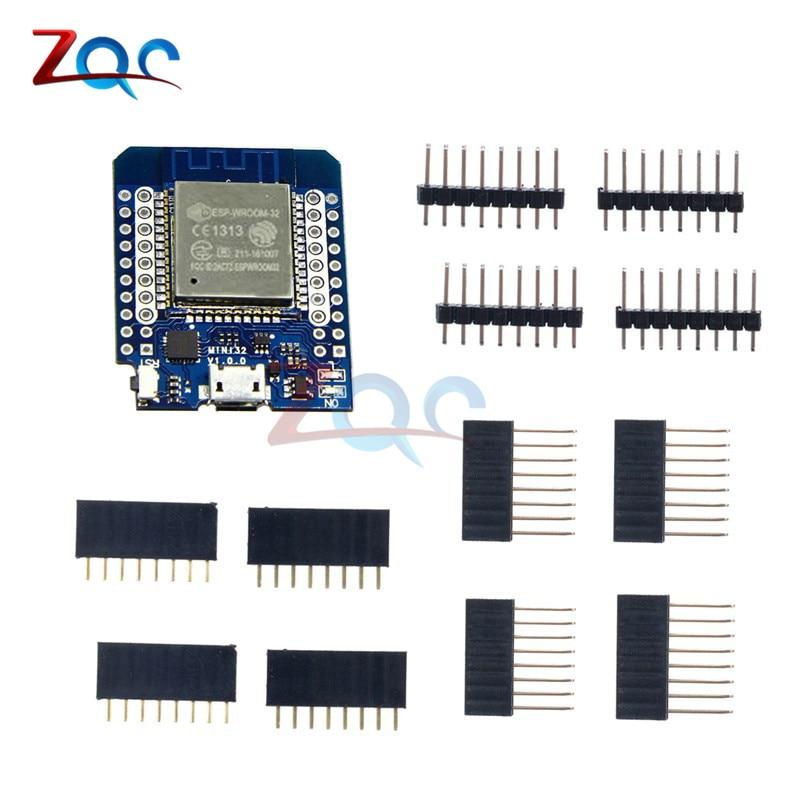For Wemos MINI D1 ESP32 ESP-32S Wireless WiFi + Bluetooth For Wemos D1 Mini Esp8266 CP2102 Module With Pins 1pcs esp32 wemos esp 32 wifi modules bluetooth dual esp 32 esp 32s esp8266
