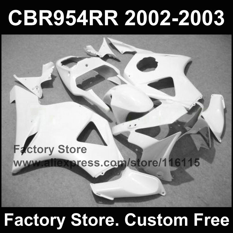 100% ABS plastic custom fairing for  CBR 900RR 2002 2003 fireblade clean white fairings kit CBR 954 RR CBR 900RR 02 03