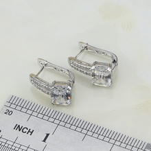 White Cubic Zirconia Crystal Inlaid Silver Jewelry Set