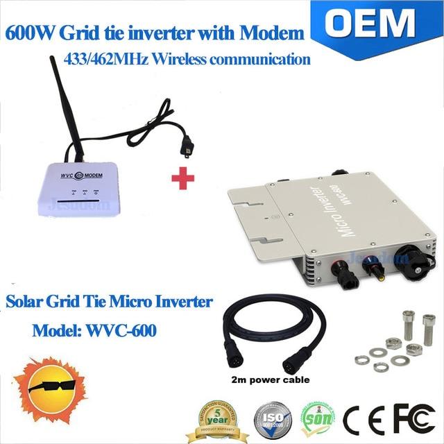 Waterproof 600W MPPT Grid Tie Micro Inverter & Modem with 433/462MHz ...