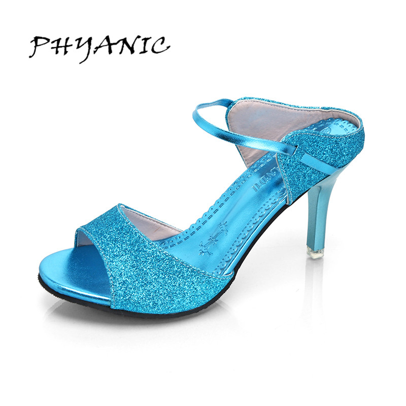 PHYANIC High Heels Peep Toe Summer Shoes Party Wedding Shoes Woman Sequined Cloth Bling Women Sexy Thin Heel Sandals 4 Colors phyanic bling glitter high heels 2017 silver wedding shoes woman summer platform women sandals sexy casual pumps phy4901