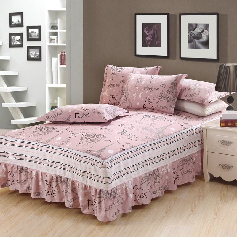 23 Colors DeMissir Cotton Ruffled Flowers Single Full Twin King Bed Skirt Children 3Pcs Set princess bedspreads faldon de cama