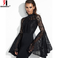 HAGEOFLY Women S Lace Flare Sleeves Sexy Lace Long Sleeve Elegant Spring Women Bandage Party Dresses