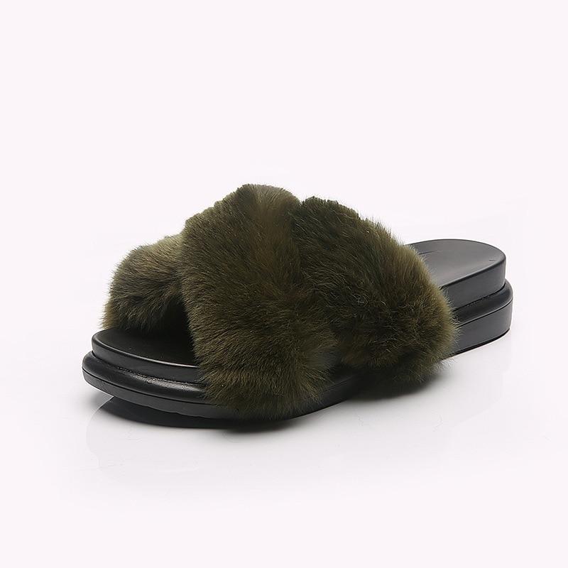 Comfortable Rabbit hair flat heel footwear cross belt thick bottom slide platform woman cotton slipper ladies fur open toe shoes