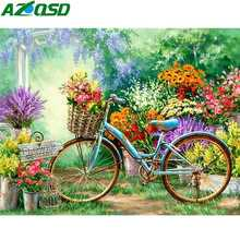 AZQSD Diamond Painting Bicycle Full Square Needlework Embroidery Flowers Home Decoration Mosaic Scenery Crafts