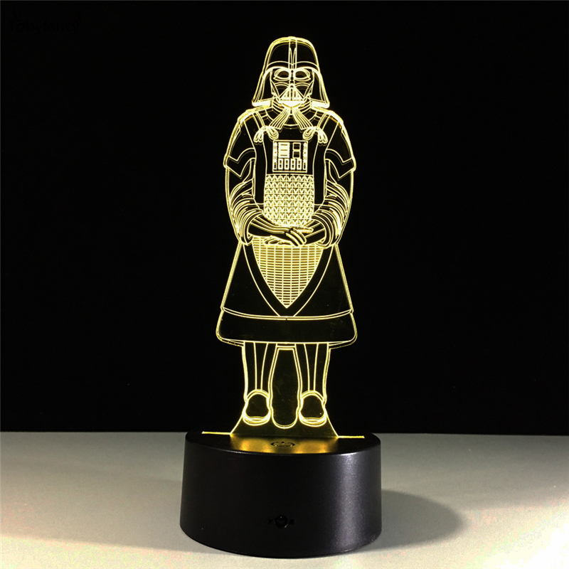 Tobyfancy Star Wars 3D Led Table Lamp Flash Darth Vader Effect 7 Colorful Acrylic Visual Illusion USB LED Lights With Controller