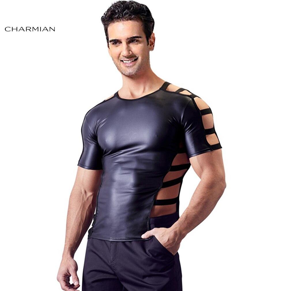 Charmian Men's Sexy PU T shirt Top Flirty Tees Singlet Casual Exotic Black PU Short Sleeve Tight Clubwear Shirt Summer T-shirt