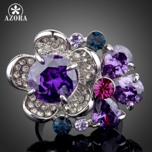 AZORA The Purple Flower Heart Platinum Plated Stellux Austrian Crystal Adjustable Size Ring TR0062