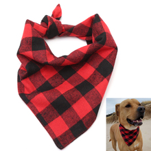 Plaid Dog Bandana Red Black Puppies Scarf Pet Bibs Grooming Accessories Flannel Triangular Bandage Products S M