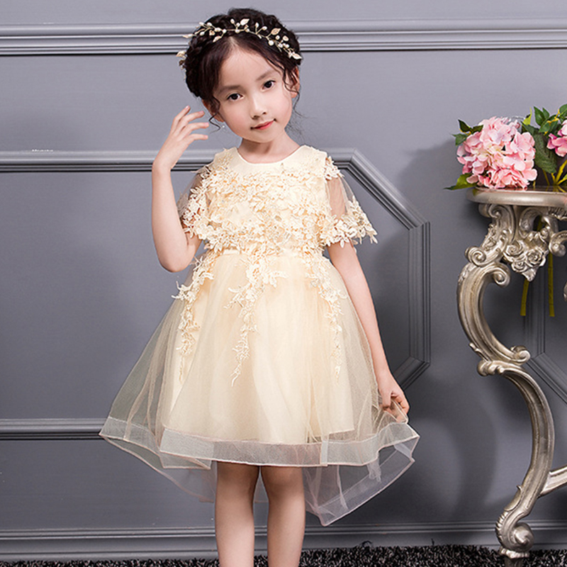 Baby dress shawl girl princess dress girl formal birthday party performance dress princess dress 3-14 year old girl clothes long criss cross open back formal party dress