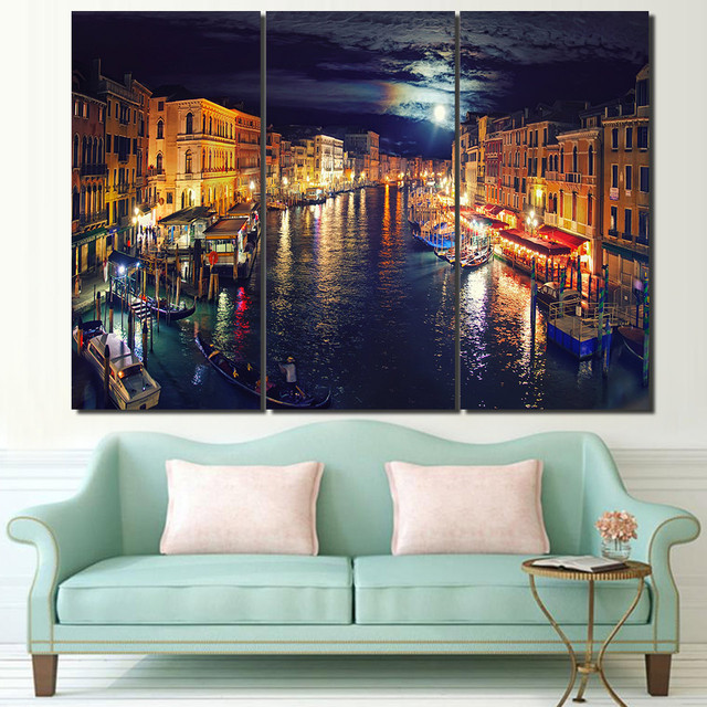 3 Panel Framed HD Printed Italy Venice Canal Wall Art Picture Modern ...
