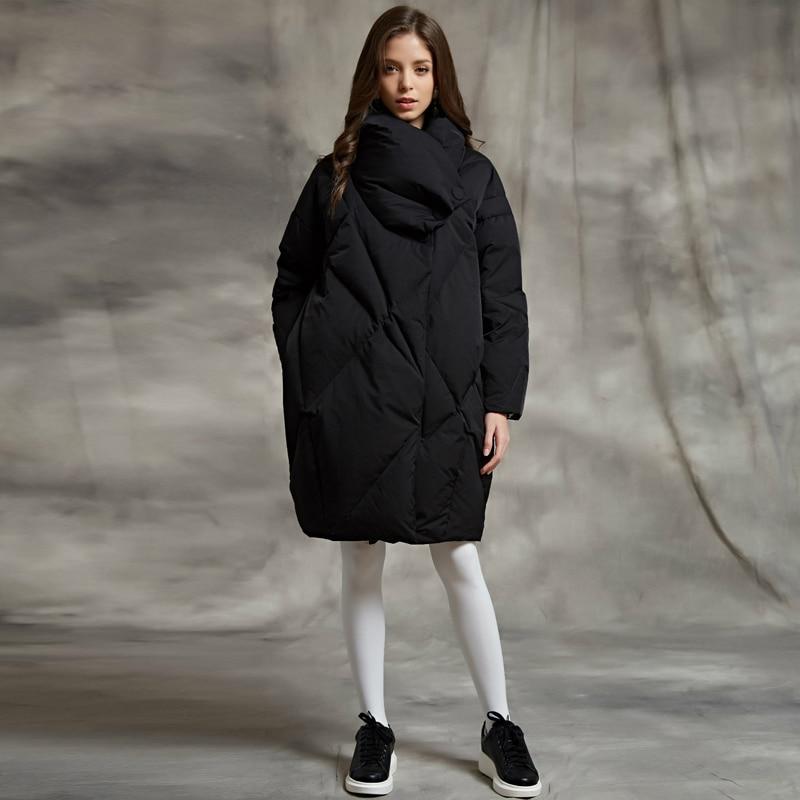 YNZZU 2018 Pain D'hiver Vers Le Bas Veste Femmes Armée Vert Élégant Lâche Épais Manteau Chaud 90% Blanc Duvet d'oie Femelle Veste o563