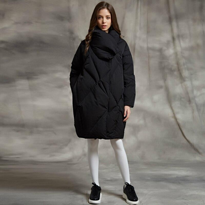 YNZZU 2018 Winter Bread   Down   Jacket Women Army Green Elegant Loose Thick Warm   Coat   90% White Goose   Down   Female Jacket O563