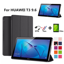 цена на Case for Huawei T3 10 9.6, Ultra Slim Stylish Pu Leather Tablet Case for Huawei MediaPad T3 10 AGS-L09 AGS-L03 flip shell cover