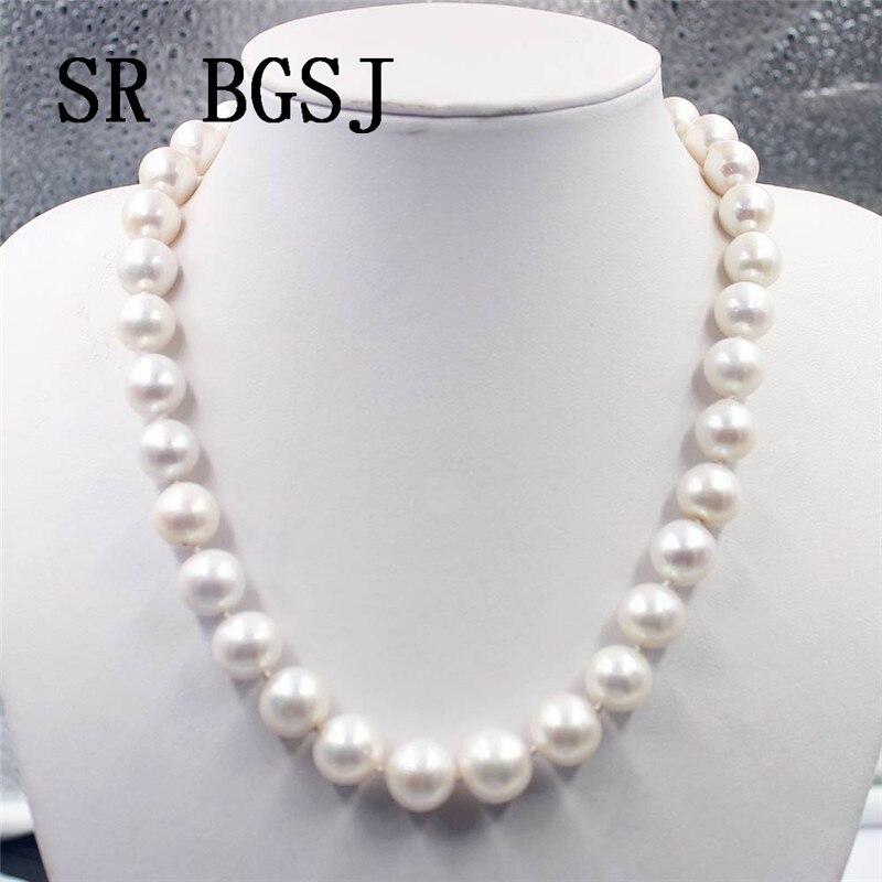 """Darmowa wysyłka 11 14mm AAA okrągły naturalna perła słodkowodna 925 srebrna zapinka węzeł elegancka biżuteria naszyjnik 18"""" w Naszyjniki choker od Biżuteria i akcesoria na  Grupa 2"""