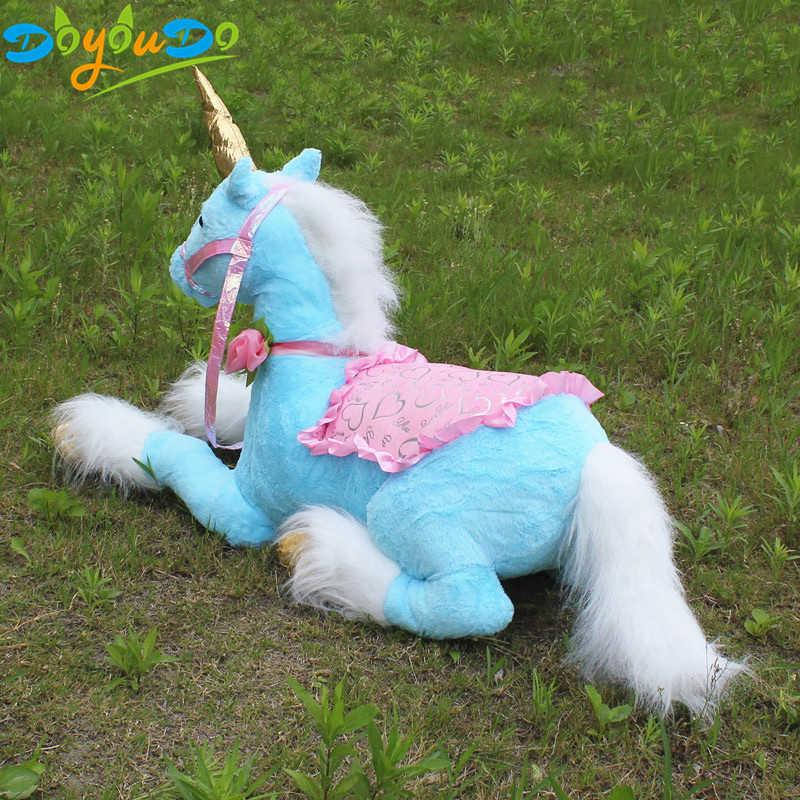 85 cm gigante animal deitado unicórnio boneca de pelúcia unicórnio azul brinquedo crianças presente aniversário loja decoração