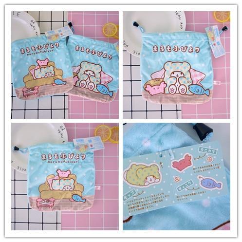 Cool 1PCS Marumofubiyori Bear Cartoon Drawstring Bags Cute Plush Storage Handbags Makeup Bag Coin Bundle Pocket Purse NEW