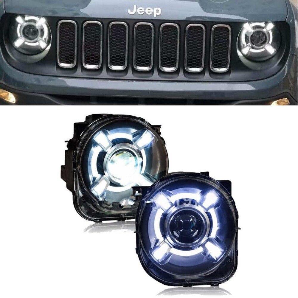 2x HID phare LED DRL bi-xénon projecteur Ballast pour Jeep Renegade 2015-2018