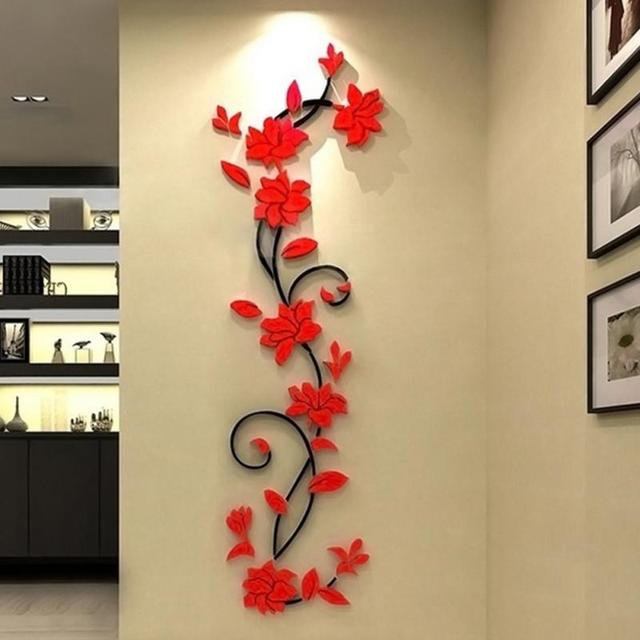Wall Stickers 3D Romantic Rose Flower Wall Sticker Removable Decal Room Vinyl For Home Bedroom Decoration