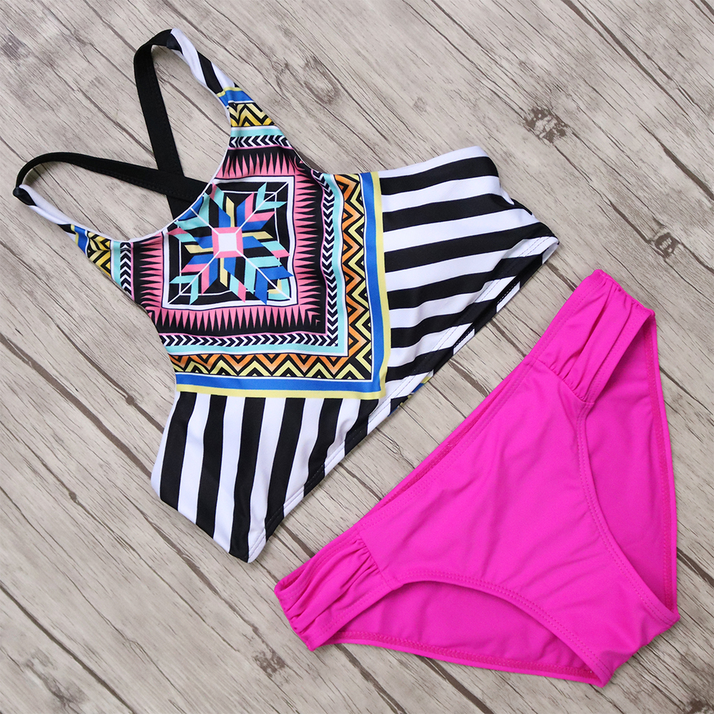 New Sexy Bikini 2017 Set Sexy High Neck Printed Swimwear Women Swimsuit Push Up Beach Bathing Suit Brazilian Biquini Swim Suit